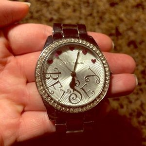 Betsey Johnson Silver Watch with Hearts